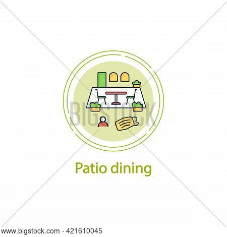 Patio Dining Concept Line Icon.outdoor Dining Space. Forced Distance. Regulation Through Covid19. Re