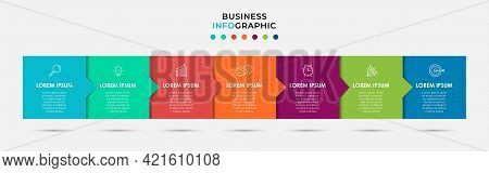 Vector Infographic Label Design Business Template With Icons And 7 Options Or Steps. Can Be Used For
