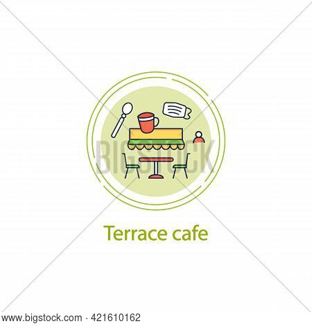 Terrace Cafe Concept Line Icon. Dinner In Restaurant Terrace. Forced Distance. Regulation Through Co