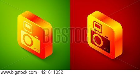 Isometric Photo Camera With Lighting Flash Icon Isolated On Green And Red Background. Foto Camera. D