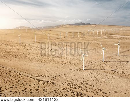 Aerial View Of Wind Turbines At The Desert