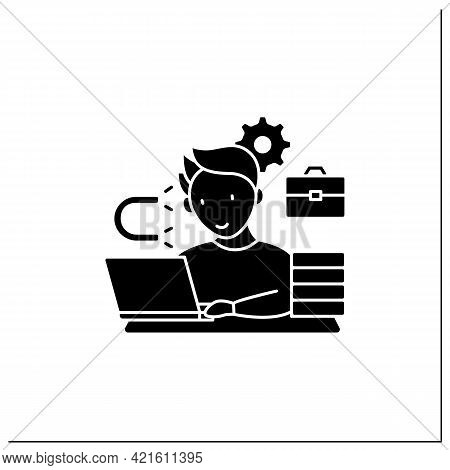 Workaholic Glyph Icon. Inability Detach From Work. Hard Working. Work Love Concept.filled Flat Sign.