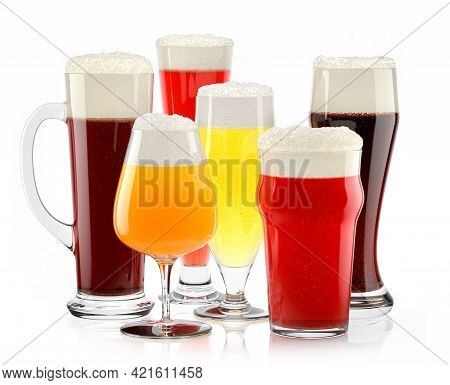 Set Of Fresh Different Beer Glasses With Bubble Froth Isolated On A White Background. 3d Rendering C