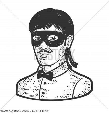 Man Small Black Masquerade Mask Line Art Sketch Engraving Vector Illustration. T-shirt Apparel Print