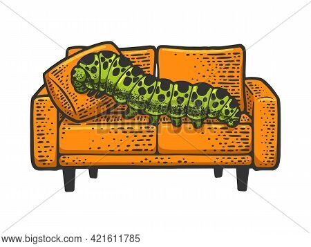 Big Lazy Caterpillar Lies On Couch Sofa Color Line Art Sketch Engraving Vector Illustration. T-shirt