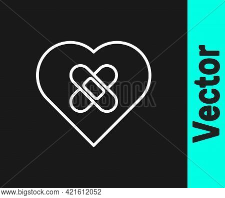 White Line Healed Broken Heart Or Divorce Icon Isolated On Black Background. Shattered And Patched H