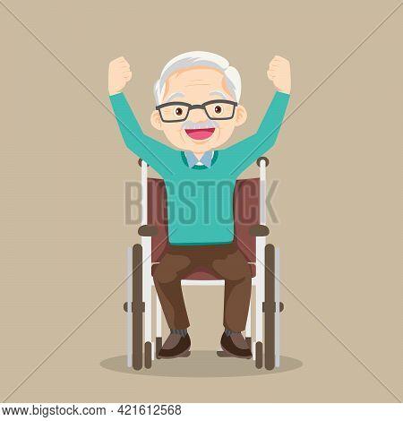 Elderly Man Sitting In Wheelchair Raising Hands,senior Man In A Wheelchair Manually And Raising A Ha