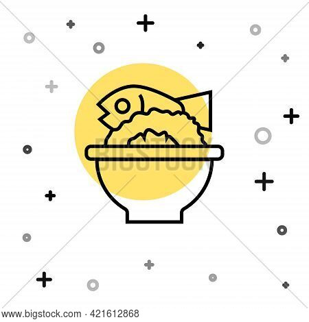 Black Line Served Fish On A Bowl Icon Isolated On White Background. Random Dynamic Shapes. Vector