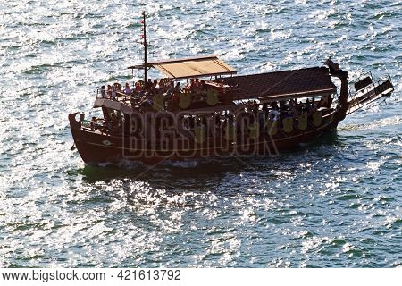 Thessaloniki / Greece - August 9, 2015: A Small Boat Transporting People To Thessaloniki.