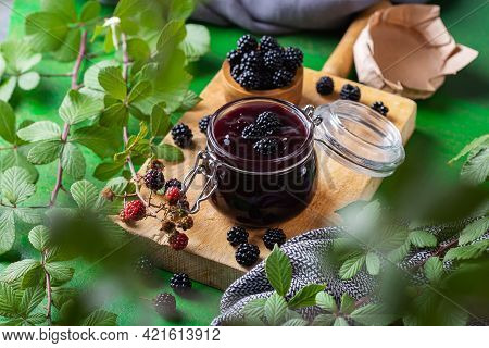 Homemade Blackberry Jam Or Confiture, Cooking, Preserving At Home