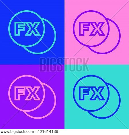 Pop Art Line Photo Camera Fx Icon Isolated On Color Background. Foto Camera. Digital Photography. Ve