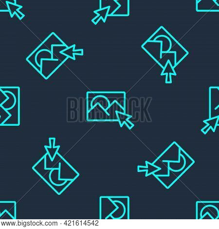 Green Line Photo Retouching Icon Isolated Seamless Pattern On Blue Background. Photographer, Photogr