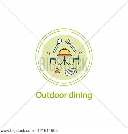 Outdoor Dining Concept Line Icon. Personal Dinner In Restaurant Outdoor.forced Distance.regulation T