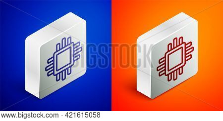 Isometric Line Computer Processor With Microcircuits Cpu Icon Isolated On Blue And Orange Background