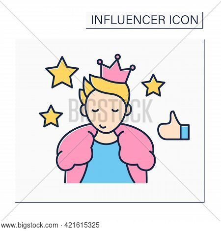 Celebrity Influencer Color Icon. Brand Ambassadors. Famous Person Influence On Audiences. Connecting