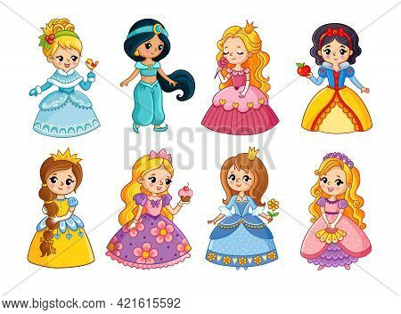 Beautiful Set With Cartoon Princesses. Vector Illustration With Girls