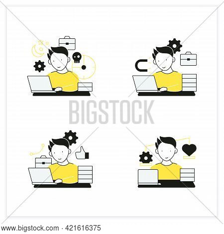 Workaholic Flat Icons Set. Workaholism Prevention And Consequences. Workaholism Treatment, Ethic And