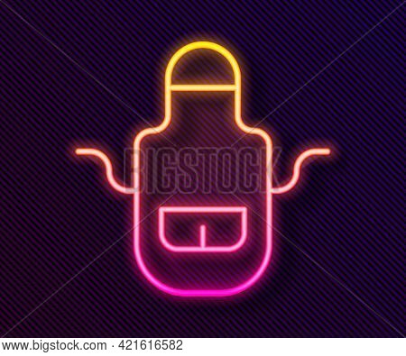 Glowing Neon Line Barber Apron Icon Isolated On Black Background. Apron Of A Hairdresser With Pocket