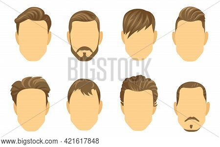 Different Hairstyles For Men Vector Illustrations Set. Male Cartoon Faces With Various Types Of Shor