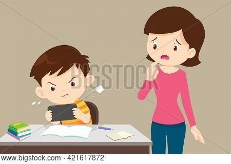 Mother In Trouble With A Child Playing Games Without Doing Homework.