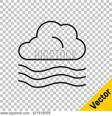 Black Line Windy Weather Icon Isolated On Transparent Background. Cloud And Wind. Vector