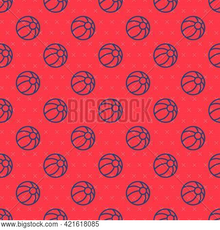 Blue Line Beach Ball Icon Isolated Seamless Pattern On Red Background. Children Toy. Vector