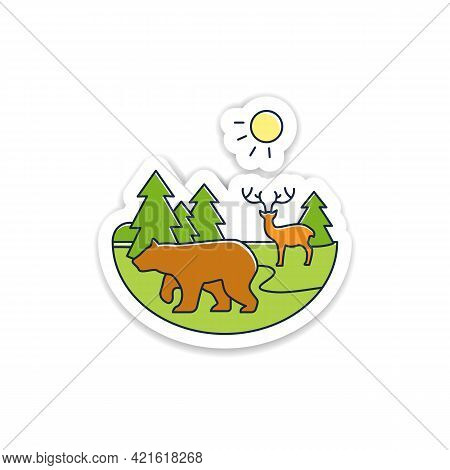 Taiga Forest Sticker. Boreal Forest Or Coniferous Forest. Living Place For Wild Animals Badge For De