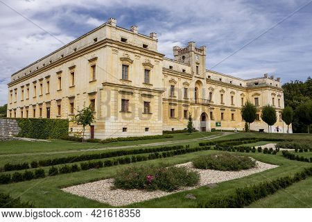 Slezske Rudoltice, Czech Republic - September 5, 2020: The Yellow Castle In Slezske Rudoltice, Czech