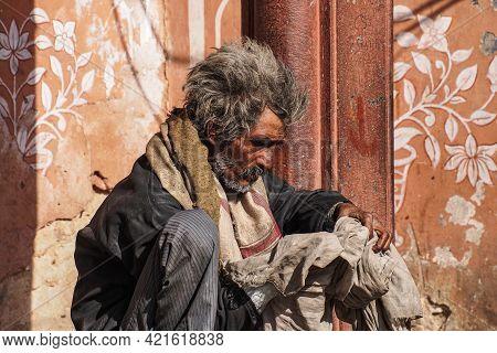 Jaipur, India - Jan 05, 2020: Old Man Near Amber Fort In Jaipur, India.