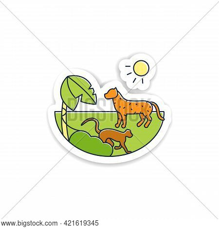 Tropical Rainforest Sticker.humid And Warm Place.located Near The Equator Badge For Designs.living P
