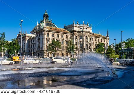 Munich, Germany - Jul 27, 2020: Baroque Revival Styled Old Stock Exchange In Munich, Bavaria, German