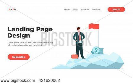 Business Leader Achieving Goal. Businessman Standing On Top, Flag, Heap Of Cash Flat Vector Illustra