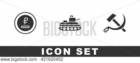 Set Rouble, Ruble Currency, Military Tank And Hammer And Sickle Ussr Icon. Vector