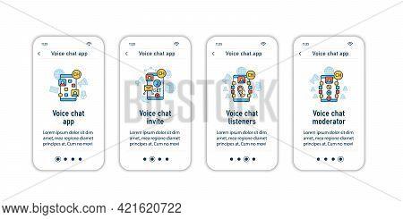 Drop In Audio App Onboarding Mobile App Screens. Application Rules Steps Menu.chat Invitation Link,