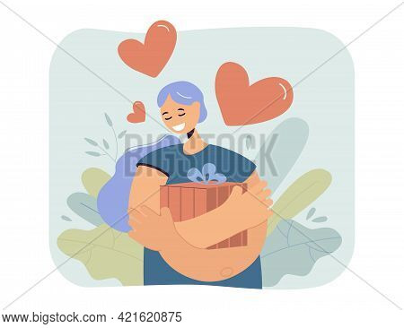 Happy Woman Hugging Present Box With Love. Flat Vector Illustration. Girl Holding Tightly In Her Arm