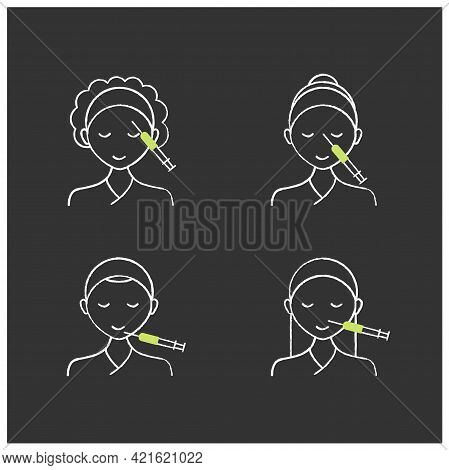 Cosmetic Injection Chalk Icons Set.beauty Correction. Rejuvenation. Forehead, Chin, Nose Injections.