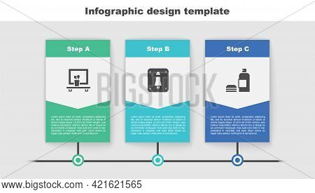 Set Washbasin Mirror, Female Toilet And Bottle Of Shampoo. Business Infographic Template. Vector