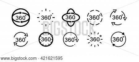 360 Degree Icon Set In Flat Style. 360 Degree View Rotation Set. 360 Degree View Icons Collection. V