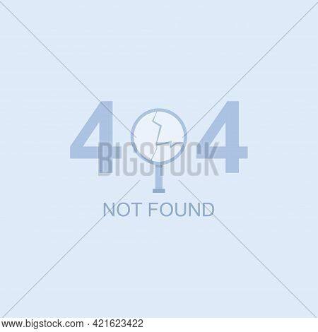 404 Not Found Vector Flat Concept Illustration With A Broken Magnifying Glass.