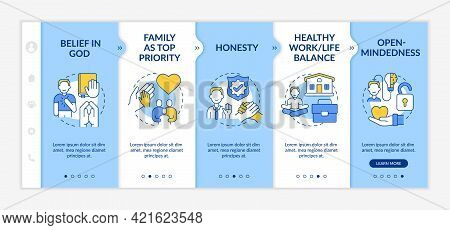 Personal Morals Onboarding Vector Template. Responsive Mobile Website With Icons. Web Page Walkthrou