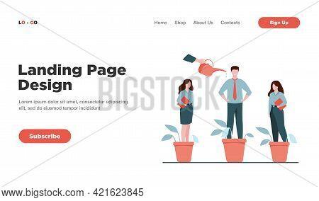 Employer Growing Business Professionals Metaphor. Hand Watering Plants And Employees In Flowerpots.