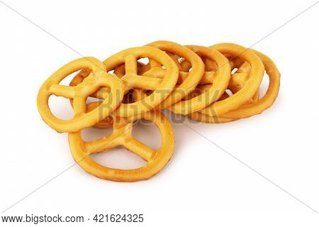 Mini Pretzels On An Isolated Background Detail, Caloric, On, Delicious, Brown, Pile, Fried, Isolated