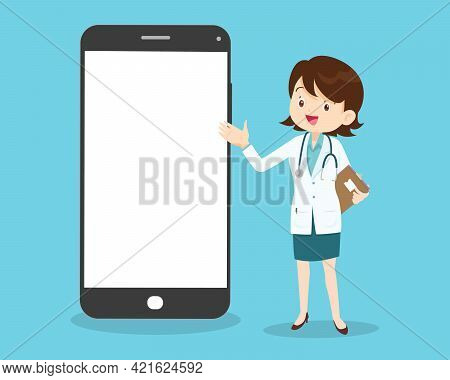 Online Medical Emergency Consultation Service, Tele Medicine. Doctor Chatting With Patient In App Me