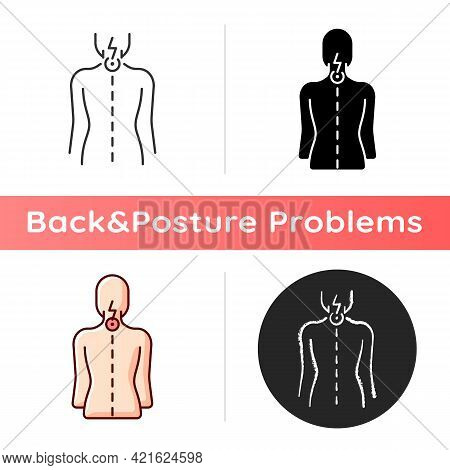 Neck Pain Icon. Nerve Root Compression. Cervical Radiculitis. Pressure On Spinal Nerves. Muscle Weak