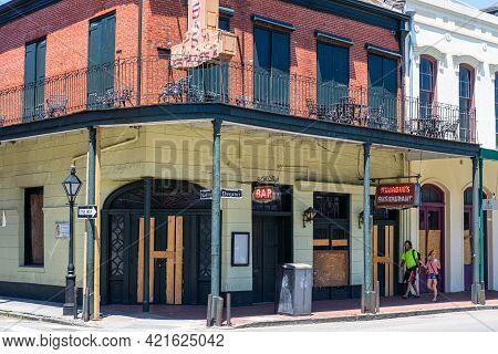 New Orleans, La - April 24: Closed And Boarded Tujague's Restaurant In The French Quarter During The