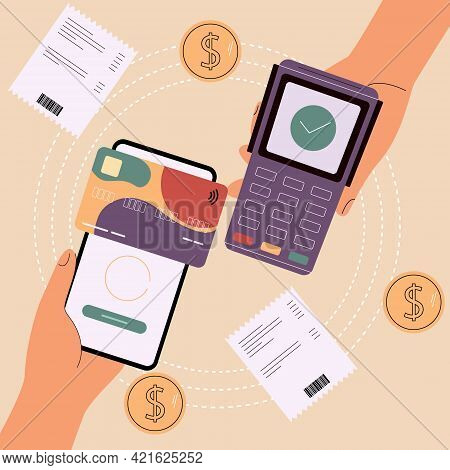 Digital Pay Technology. Concept Of Secure Online Payments.contactless Payment System.vector Illustra