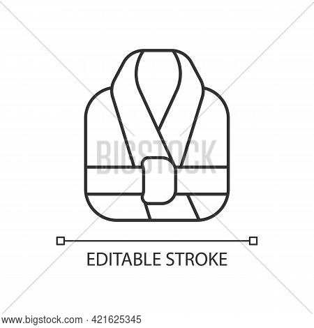Bath Robe Linear Icon. Clean Folded Clothes. Bathrobe For Shower. Spa Wear. Textile Products. Thin L