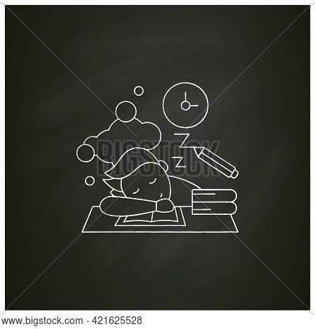 School Procrastinating Chalk Icon.unnecessarily Postpone Dealing Tasks. Sleep At Lesson. Tired Perso