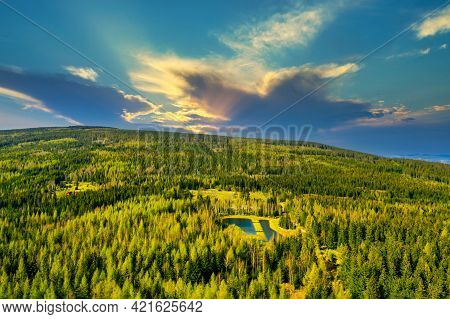 Karkonosze, Mountains Forming Part Of The Sudetes Massif. It\'s A Spring Sunny Day. Mountainous Terr