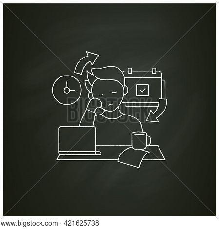 Chronic Procrastination Chalk Icon.unhappy Statistic.tired Person At Workplace. Routine Procrastinat